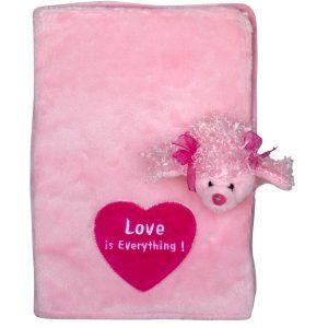 Плюшена розова подвързия за тетрадка с пудел