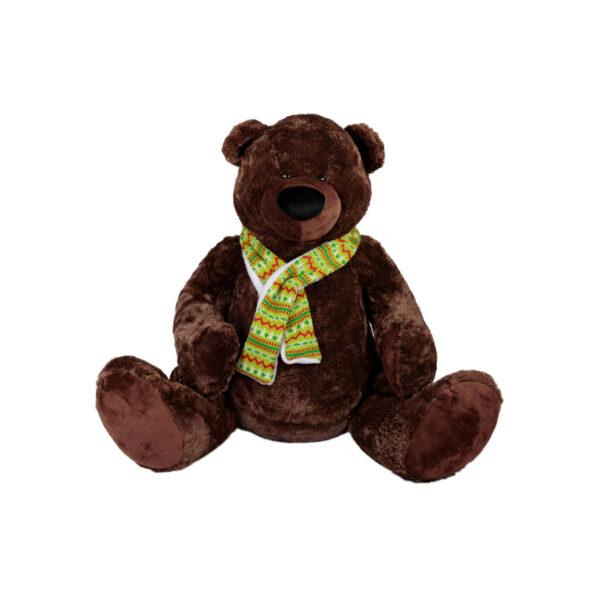 Кафяв плюшен мечок с шал