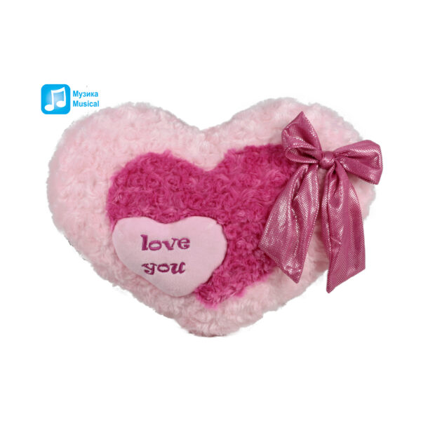 Розово сърце с панделка