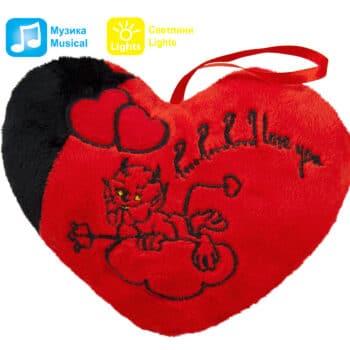 Червено сърце с дявол