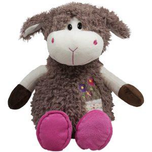 Кафява плюшена овчица с розови пантофки